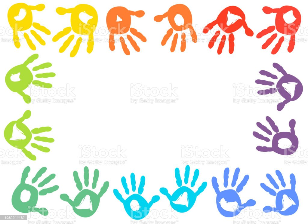 Colorful Kids Handprint Frame Stock Vector Art & More Images of ...