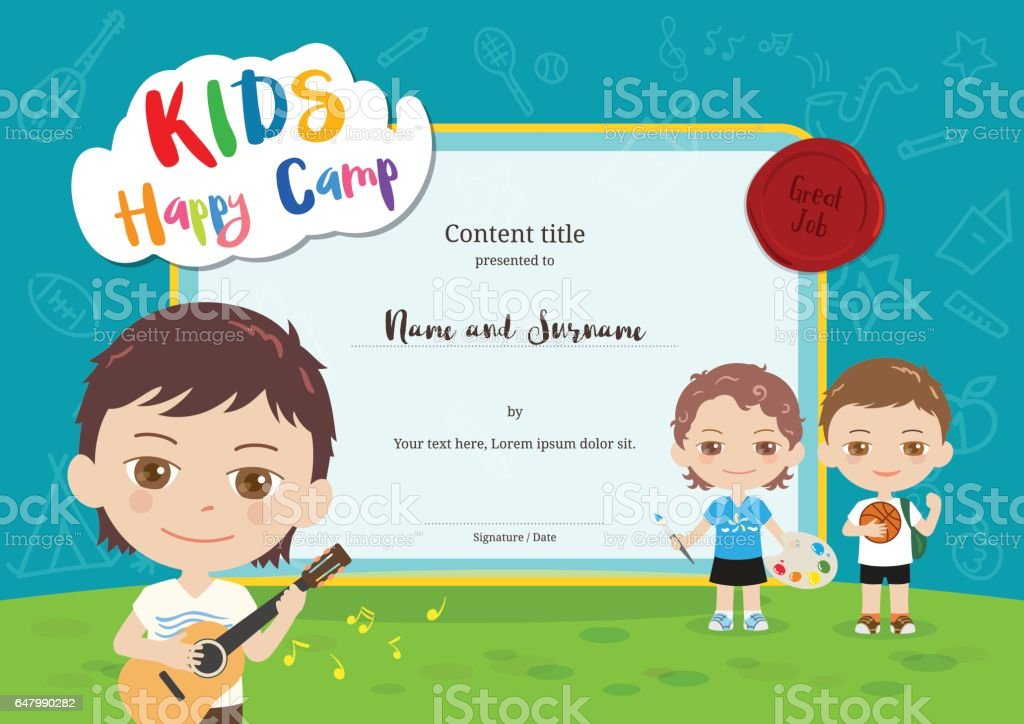 Colorful kids summer camp diploma certificate template in cartoon style vector art illustration