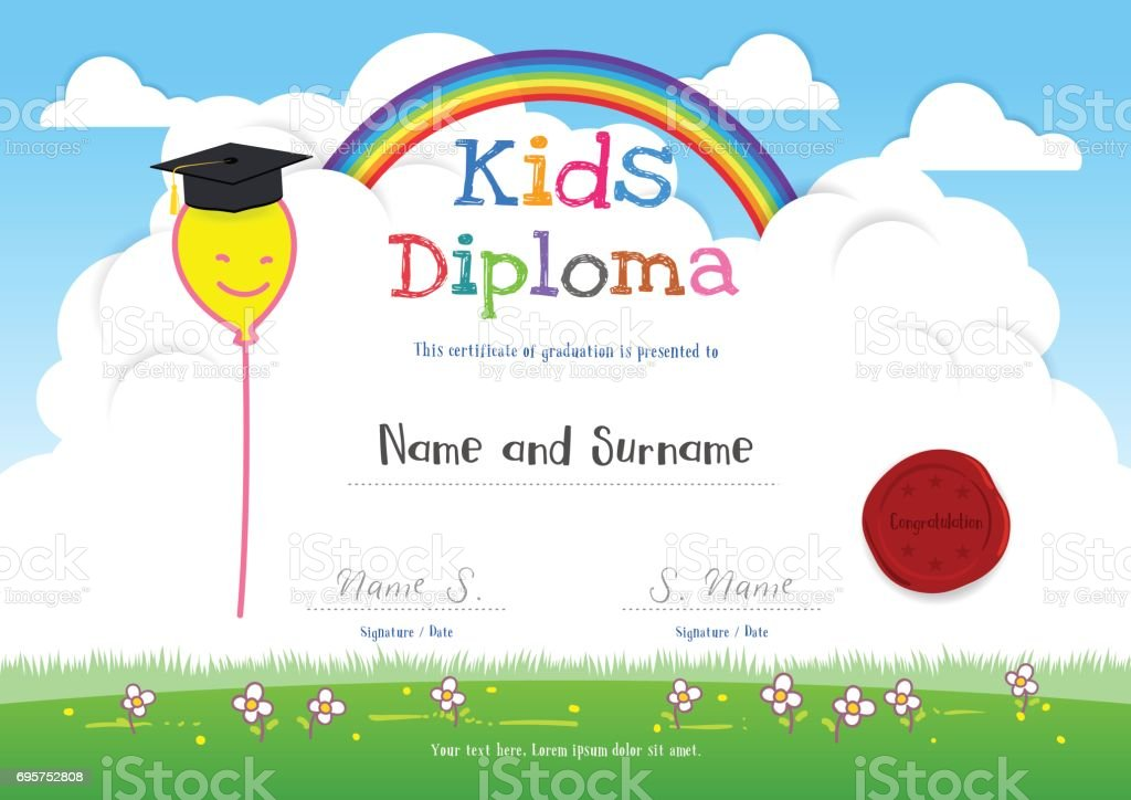 Colorful kids summer camp diploma certificate template in cartoon colorful kids summer camp diploma certificate template in cartoon style royalty free colorful kids summer yelopaper Images