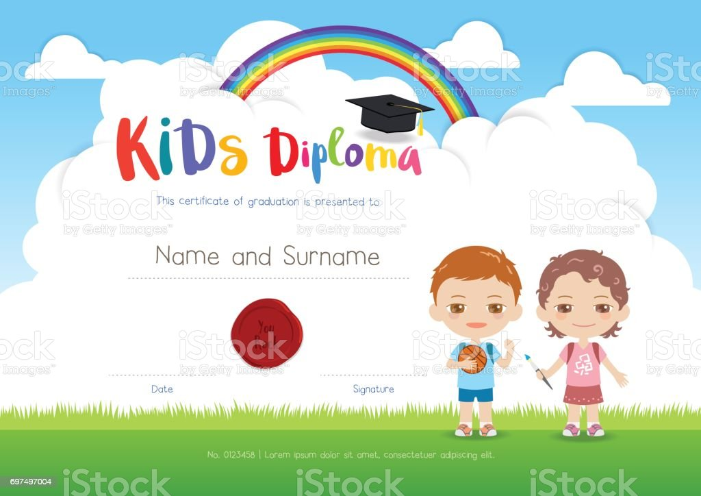 Colorful kids summer camp diploma certificate template in cartoon colorful kids summer camp diploma certificate template in cartoon style royalty free colorful kids summer yadclub Gallery