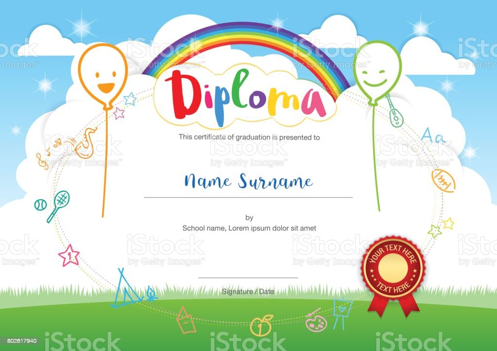 Colorful Kids Summer Camp Diploma Certificate Template Smiling