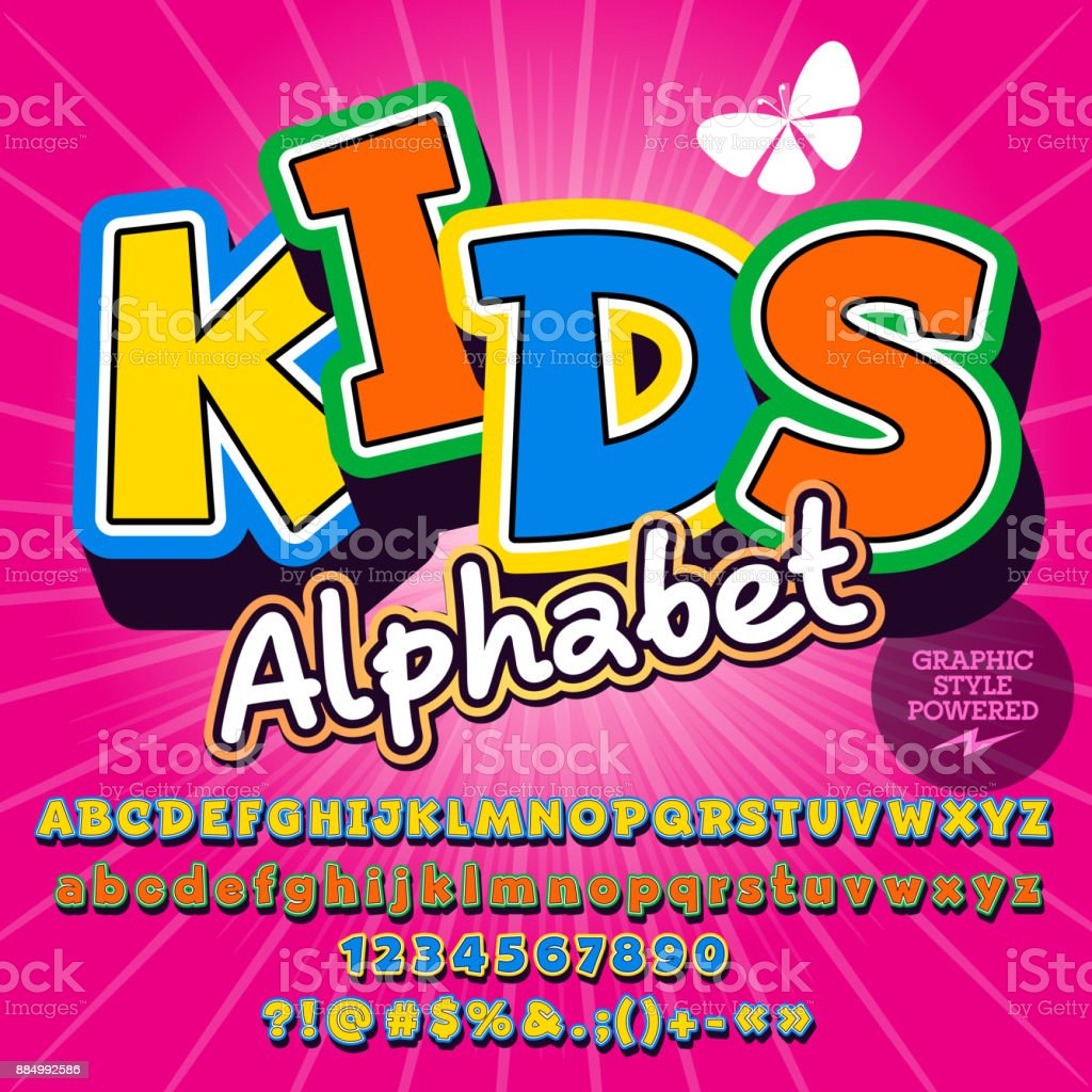 Bunte Kinder-Vektor-set Alphabet – Vektorgrafik