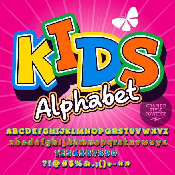 ilustraciones, imágenes clip art, dibujos animados e iconos de stock de vector niños colorido conjunto de alfabeto - tipos de letra y tipografía