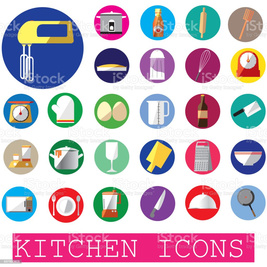 colorful kitchen icons in color circle vector art illustration