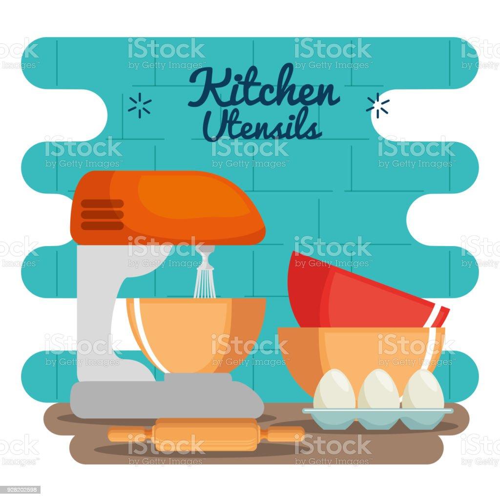 Bunte Küchenutensilien Stock Vektor Art und mehr Bilder von ...