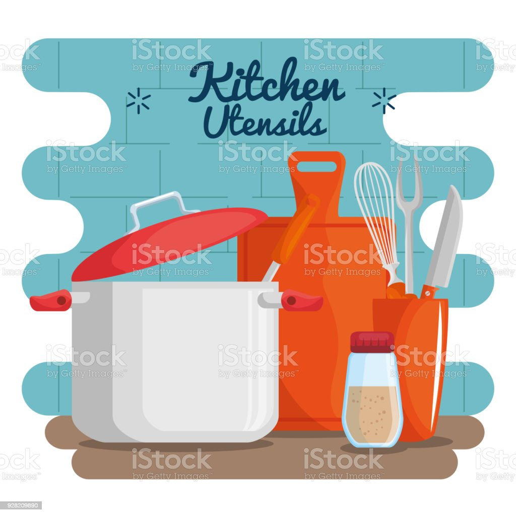 Colorful Kitchen Utensils Stock Vector Art & More Images of Bowl ...