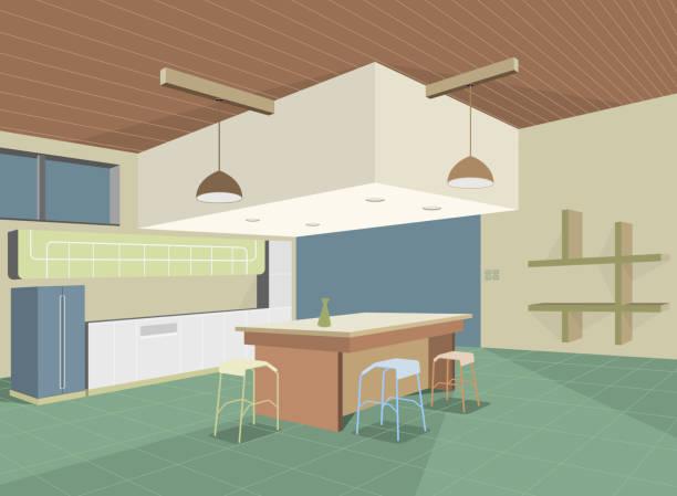 bunte küche - winkelküche stock-grafiken, -clipart, -cartoons und -symbole