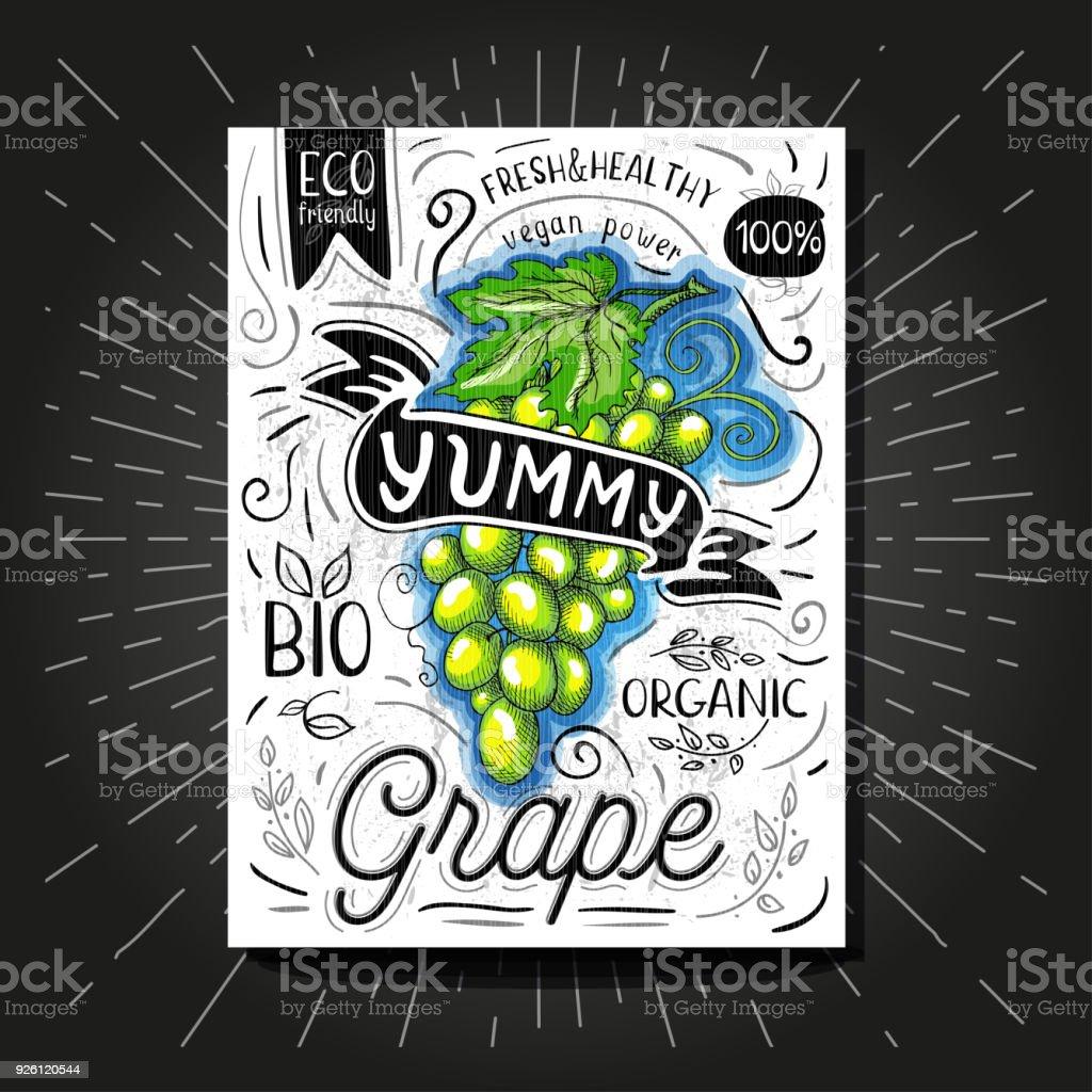 0799b1340e4515 Bunte Label Poster Aufkleber Lebensmittel Obst Gemuse Kreide