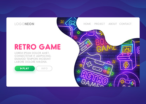 Colorful Landing Page. Mock up website. Home Page. Web banner templates. Social media, business app, seo and marketing. Theme Retro Game. Gamer. Neon sign style. Vector illustration