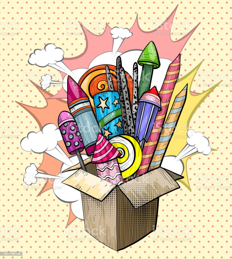 Colorful large Firework explosion in cardboard box. Pop art. Vector...