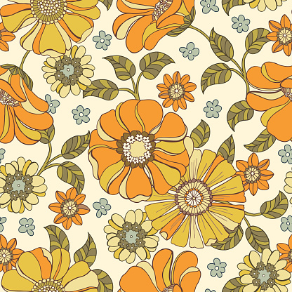 Colorful Large Scale Hand-Drawn Floral Vector Seamless Pattern. 70s Nostalgia