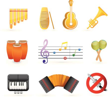 colorful latin music icon set