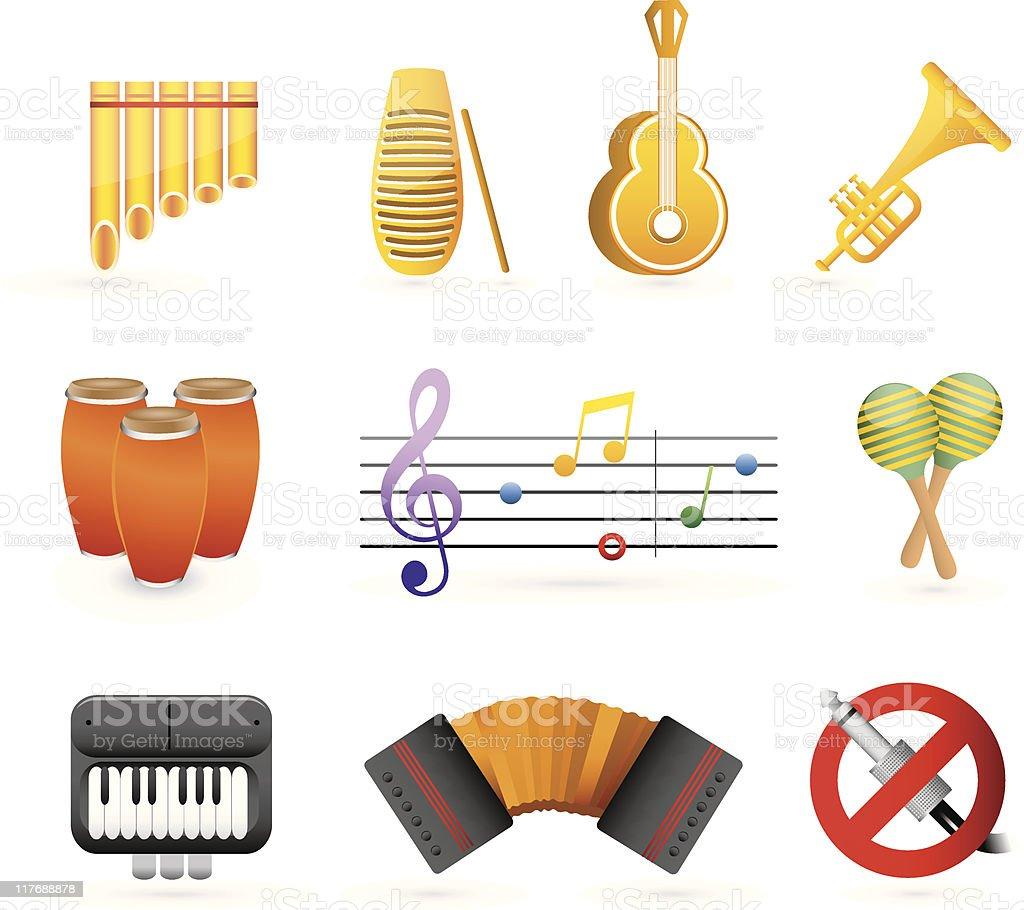 colorful latin music icon set vector art illustration