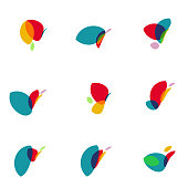 colorful leaf icon collection