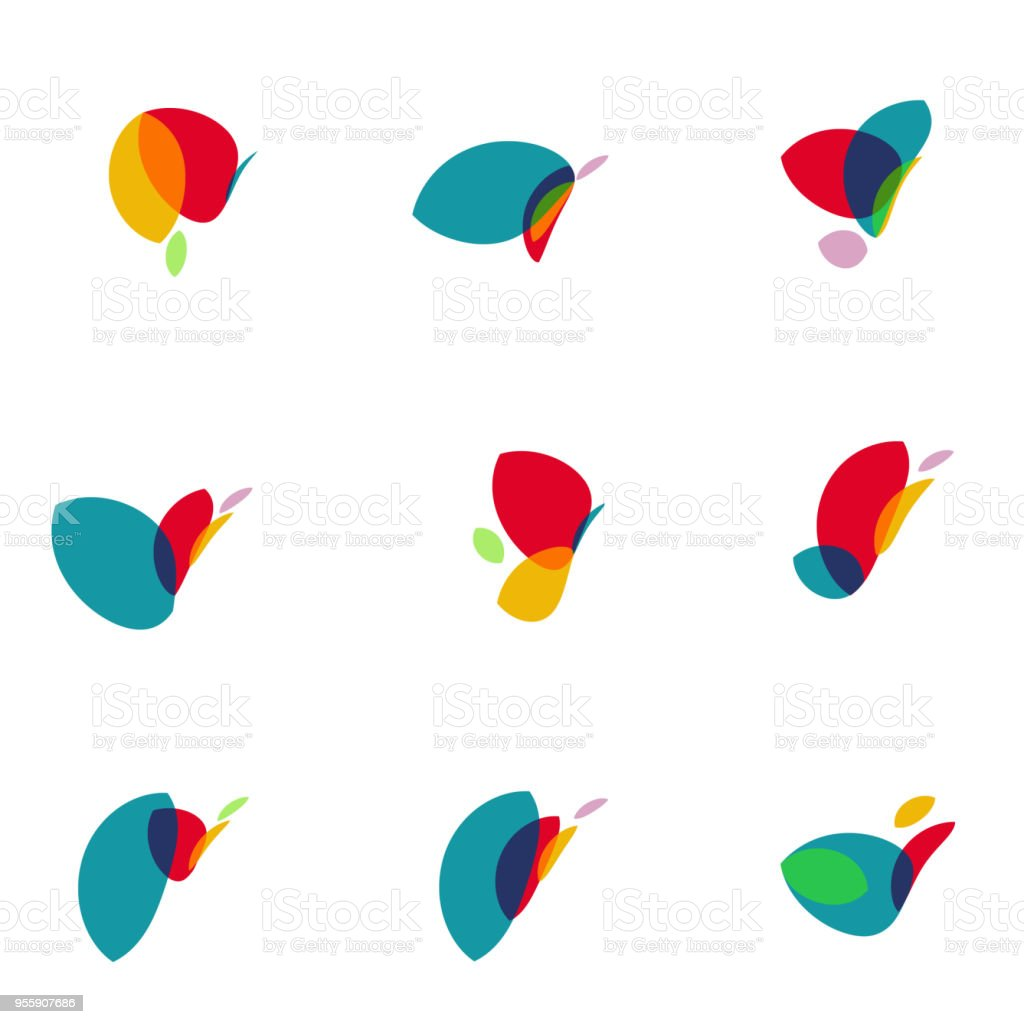 colorful leaf icon collection vector art illustration