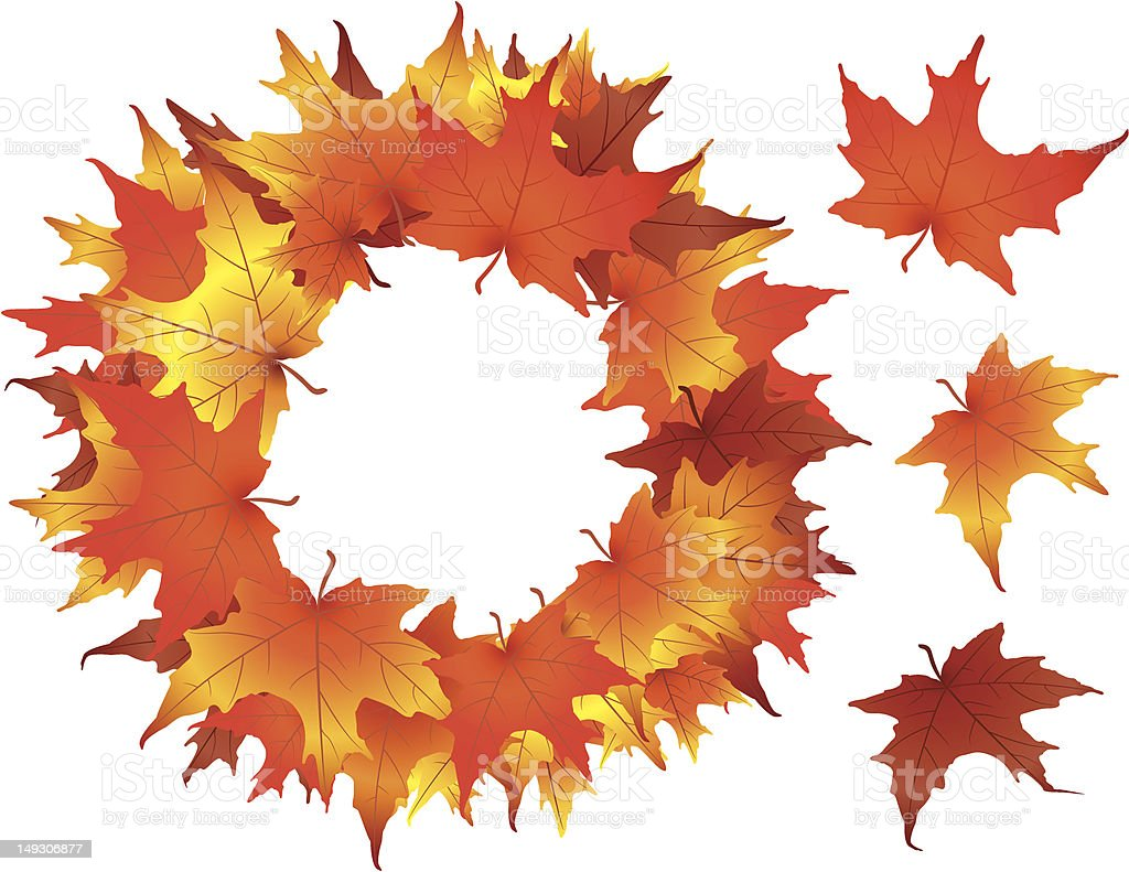 Colorful leaf wreath made of fall maple leaves royalty-free stock vector art