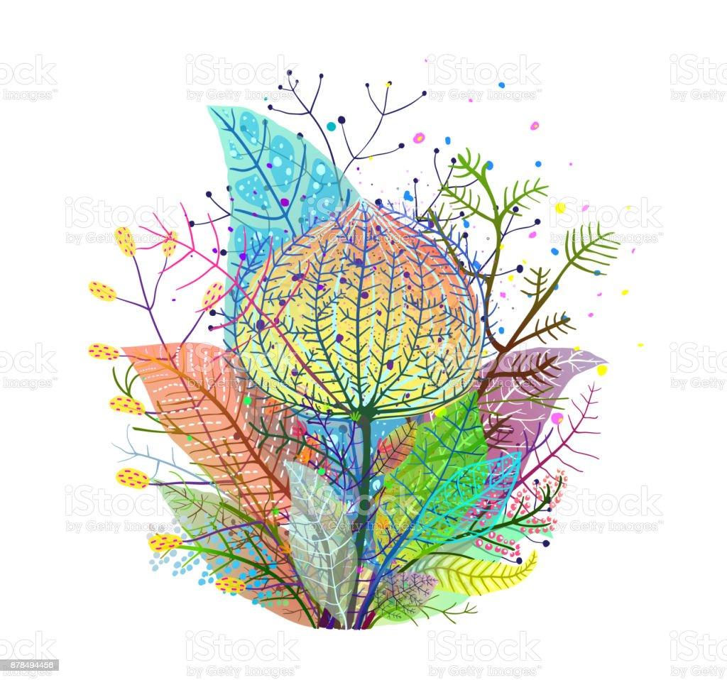 Colorful Leaves Decoration Transulent Arrangement vector art illustration