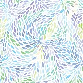 Abstract seamless pattern. Floral background in blue color tones. Vector illustration with leaves can be used for fashion textile, wrapping paper, wallpaper, fabric prints.