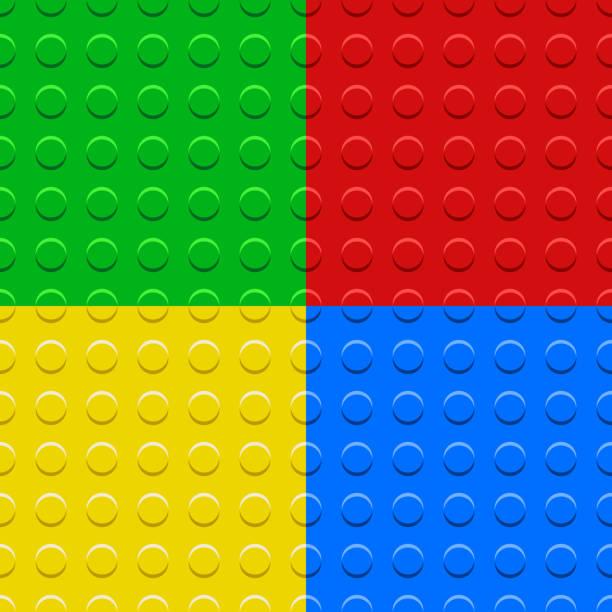 stockillustraties, clipart, cartoons en iconen met kleurrijke lego blokken platen naadloze patronen instellen, vector - lego