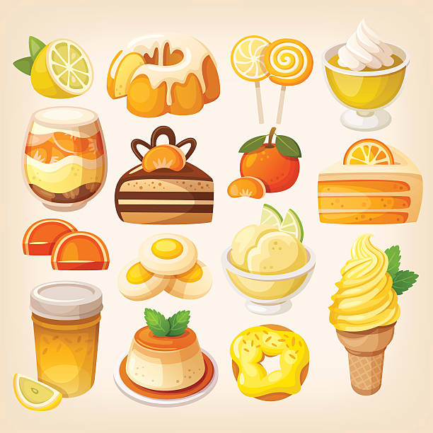 Colorful lemon and orange desserts Set of delicious sweets and desserts with citrus flavors pudding stock illustrations