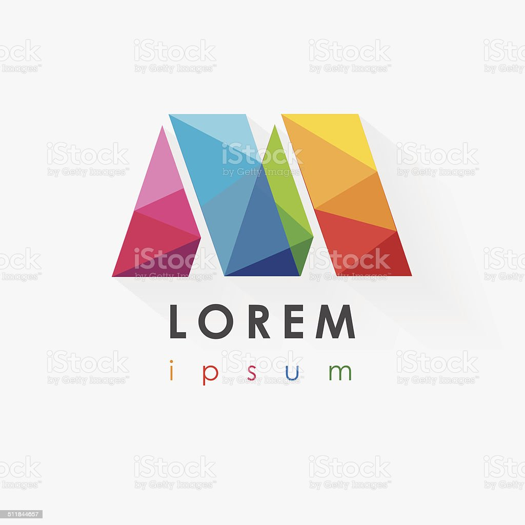 colorful letter m logo design for business company vector art illustration