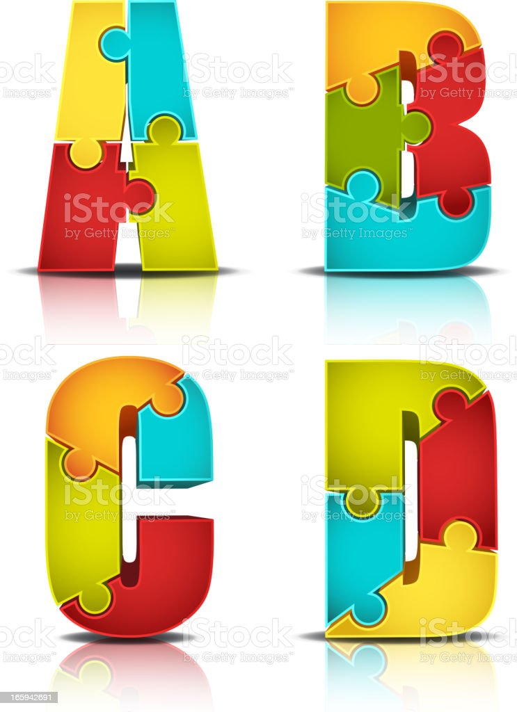 Colorful Letter Puzzle royalty-free stock vector art