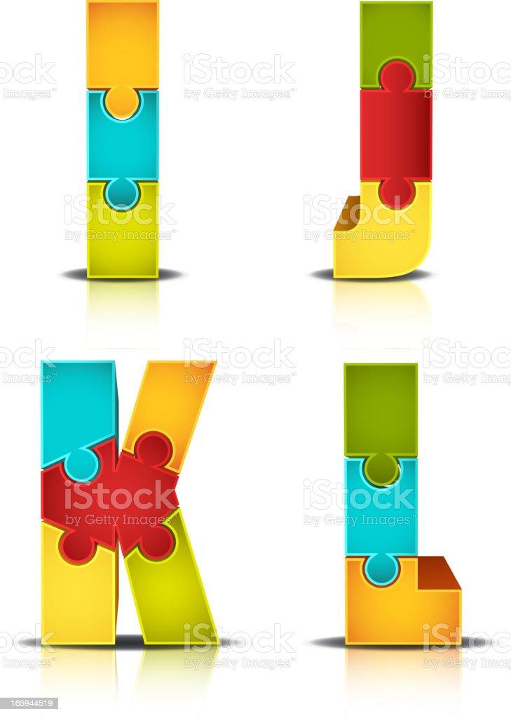 Bunte Buchstaben Puzzle – Vektorgrafik