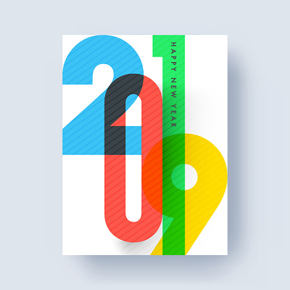 Colorful lettering 2019 on white background for Happy New Year celebration, template or greeting card design.