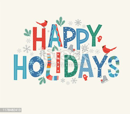 Colorful lettering Happy Holidays with decorative seasonal design elements. For banners, cards, posters and invitations.