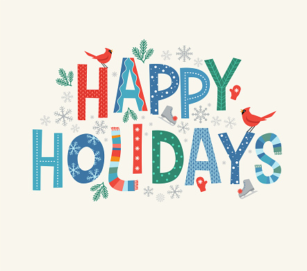 Colorful lettering Happy Holidays with decorative seasonal design elements.