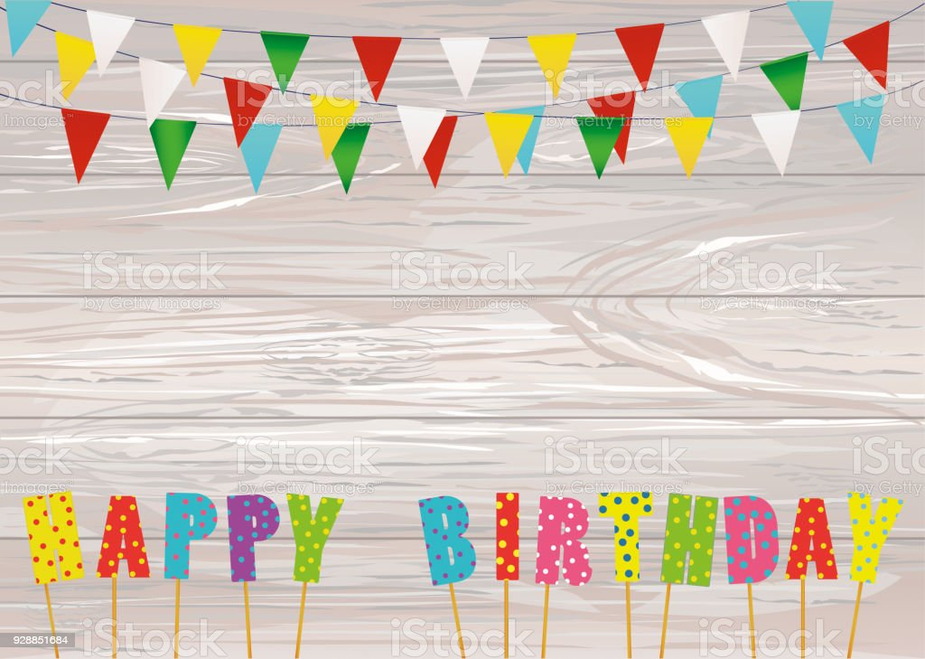 Colorful Letters Happy Birthday On Stick Rainbow Garland Of Flags
