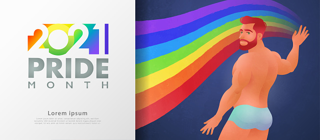 Colorful LGBT pride month banner for 2021. Handsome male flat character painting rainbow to represent LGBT rights and movements background