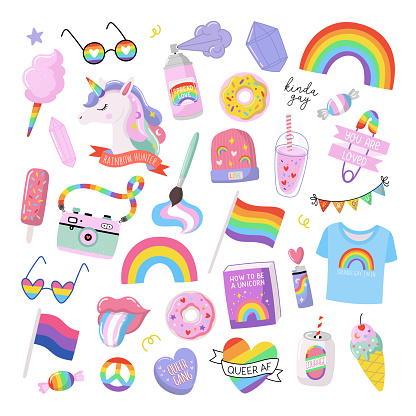 Colorful LGBTQ pride print with equality symbols. Hand drawn vector illustrations. Pride Month design elements.