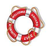 Colorful life buoy with the inscription (Welcome aboard), vector illustration