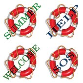 Colorful lifebuoy set with stripes and rope. Isolated on white background. Vector illustration.