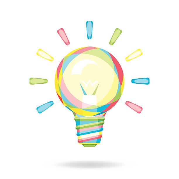 Colorful Light Bulb vector art illustration