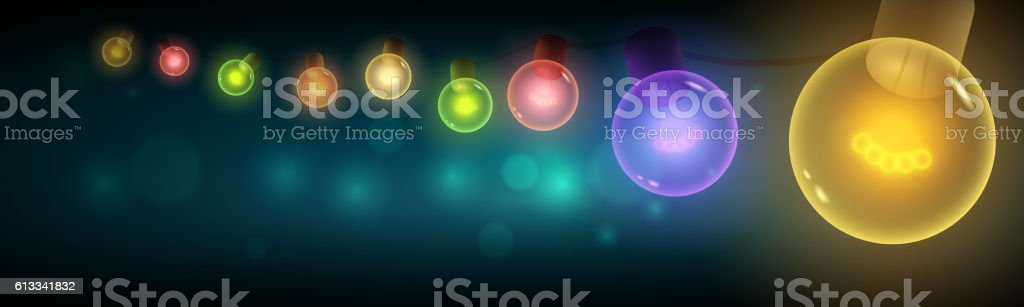 Colorful light bulbs hanging in the night. vector art illustration