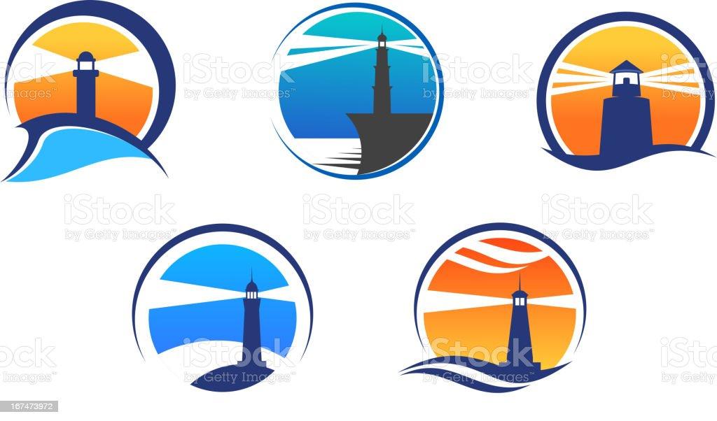 Colorful lighthouse symbols set vector art illustration