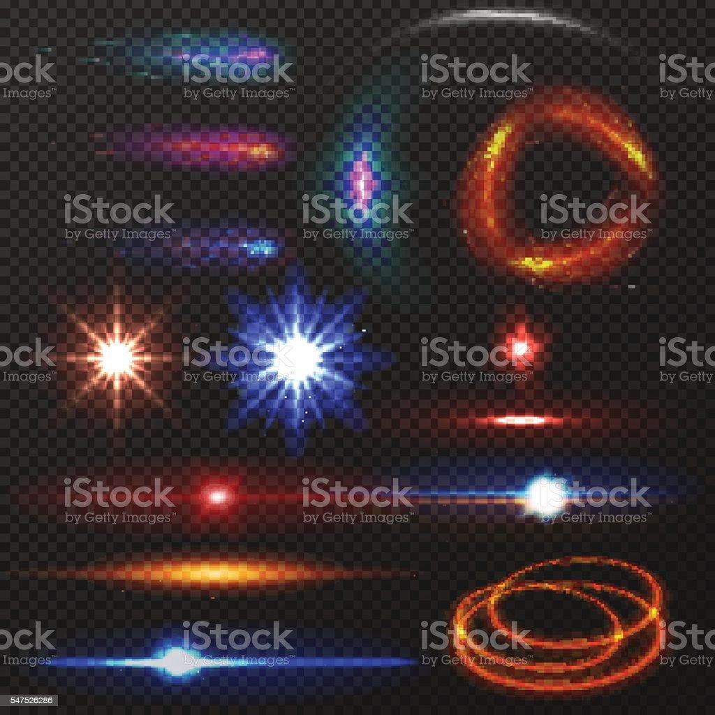 Colorful lights set vector art illustration