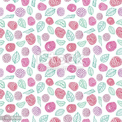 Colorful line art berry seamless pattern print. Vector