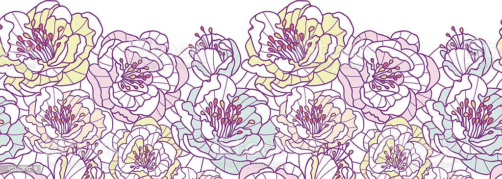 Line Art Flower Background : Colorful line art flowers horizontal seamless pattern