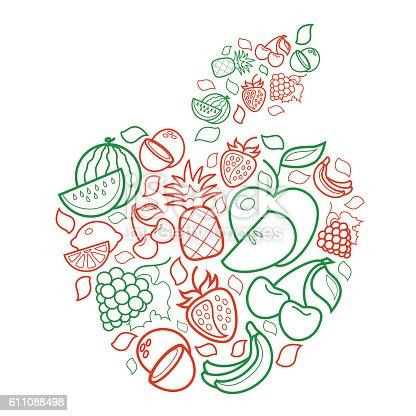 Colorful Line Art Fruit Apple Symbol On White Background Stock