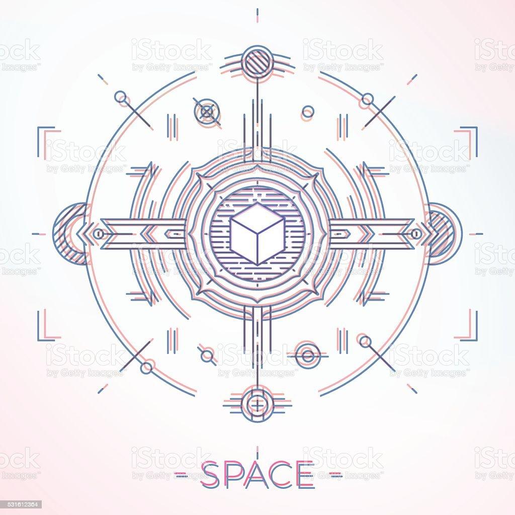 Ilustración de Colorido Línea Geométricas El Futuro Diseño ...