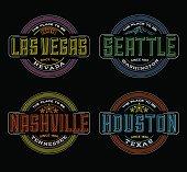 colorful linear logos for Las Vegas, Seattle, Nashville, Houston