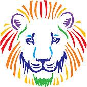 Colorful Lion Head