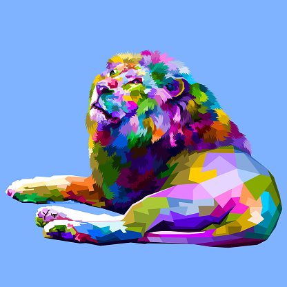 colorful lion lying down facing up
