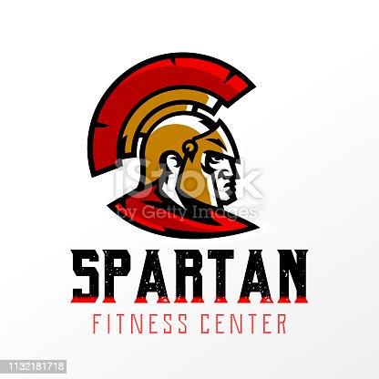 Colorful logo, badge, emblem of Spartan head and Corinthian helmet. Greek soldier, warrior, hero, shield, lettering. Identity for sports club, gym, vector illustration.