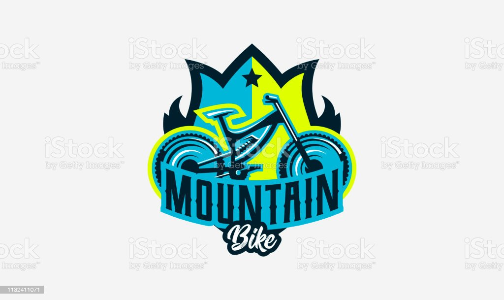 Colorful logo, emblem, mountain bike icon. Bicycle, transport, downhill, freeride, extreme, sports. T-shirt printing, vector illustration.