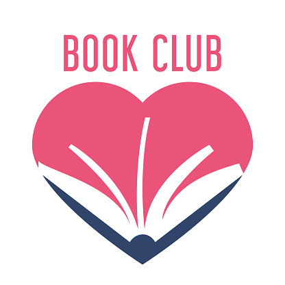 Colorful logo for book club vector isolated
