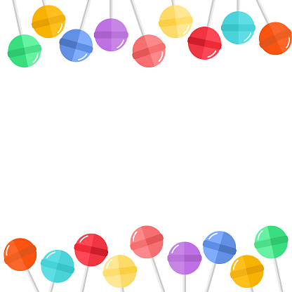 colorful Lollipops candy on white background.